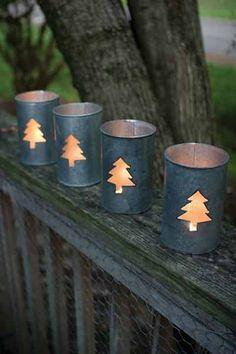Christmas Tree Tin Luminary Set Of Four - Holiday Candle Decoration | UrbanMarketPlace - Folk Art & Primitives on ArtFire