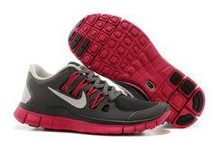 Nike Free 5.0+ Run Women Dark Grey Rose Red
