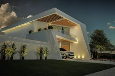 Modern Home Design Meters 3 Bedrooms - Home Ideas Modern Architecture Design, Facade Architecture, Residential Architecture, Modern House Design, Villa Design, Modern Contemporary Homes, House Elevation, Dream House Plans, Facade House