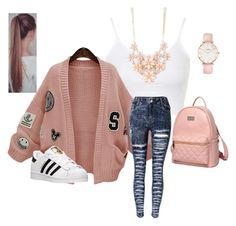 """""""Senza titolo #12"""" by robertipox on Polyvore featuring moda, Topshop, Princess Carousel, CLUSE, Full Tilt, WithChic, adidas, women's clothing, women e female"""