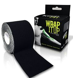 KeepFit Gear Kinesiology Tape for Athlete or Therapeutic with ETaping Guide Wrap Black 2 Inch by 164 feet * Learn more by visiting the image link.