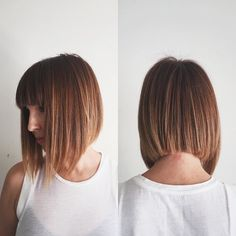 Ginger A-Line Bob with Full Blunt Bangs and Highlights Medium Length Hairstyle Medium Hair Cuts, Short Hair Cuts, Medium Hair Styles, Short Hair Styles, Line Bob Haircut, Bob Haircut With Bangs, Haircut Medium, Concave Bob Hairstyles, Bob Hairstyles For Fine Hair With Fringe