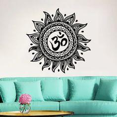 Mandala Wall Decal Om Yoga Studio Vinyl Sticker Decals Ornament Moroccan Pattern Namaste Lotus Flower Home Decor Boho Bohemian Bedroom ZX168
