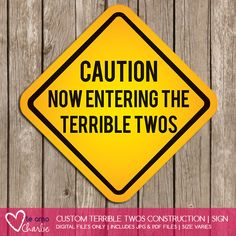 Terrible Twos Construction Sign Construction by PalmBeachPrints