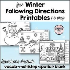 Winter Following Directions Coloring Printable