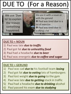 Due to for a Reason  #esl #learnenglish