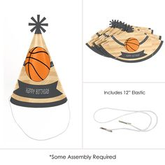 0ce86cc93fcf6 Nothin But Net Basketball Cone Happy Birthday Party Hats for Kids and  Adults Set of 8