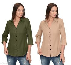 Checkout this latest Shirts Product Name: *Glamorous Contemporary Women's Polyester Solid Women's Shirts(Pack Of 2)* Fabric: Polyester Sleeve Length: Three-Quarter Sleeves Pattern: Solid Multipack: 2 Sizes: S, M, L, XL Country of Origin: India Easy Returns Available In Case Of Any Issue   Catalog Rating: ★4 (354)  Catalog Name: Glamorous Contemporary Women's Polyester Solid Women's Shirts Combo CatalogID_446772 C79-SC1022 Code: 405-3240252-1131