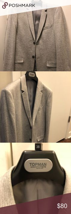 Topman light  gray blazer Worn ONCE, Topman Men's slim fit blazer. Light gray, very versatile, and a great addition to any wardrobe ! Topman Suits & Blazers Sport Coats & Blazers