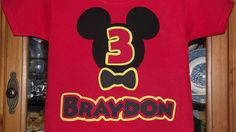Mickey Mouse Clubhouse - Disney Birthday Party Custom Red Black Yellow  T-Shirt Personalized Applique. $18.00