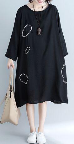 Unique pockets Cotton clothes plus size Wardrobes black loose Dress. Linen  Dresses ... 1706e4c477e0