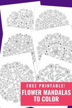 Enjoy some creative and quite time with these free printable Flower Mandalas to Color. A variety of floral elements make up these pretty mandala coloring pages which are suitable for all ages, just add your own colorful flair to each of the designs! Printable Coloring Pages, Colouring Pages, Free Coloring, Adult Coloring, Indoor Activities For Kids, Crafts For Kids, Party Printables, Free Printables, Purple Pumpkin