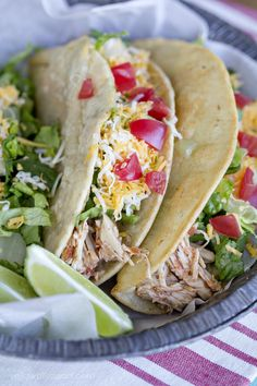 Best Crockpot Recipes (May 2015): Crock Pot Chicken Tacos recipe by Yellow Bliss Road