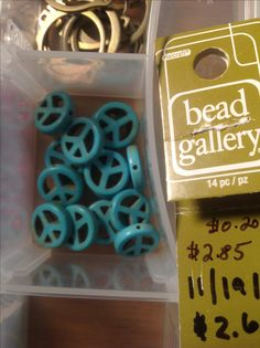 Bead Gallery 14 pcs. Reconstituted stone peace sign.  $2.69 (2.85) $0.20/each.  Michael's 11/19/2016