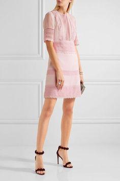 Giambattista Valli - Guipure Lace-paneled Crepe And Chiffon Mini Dress - Pink