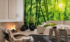 salon moderne, canapé droit blanc neige, tables d'appoint en bois massif et poster mural XXL au motif paysage forestier avec bambous