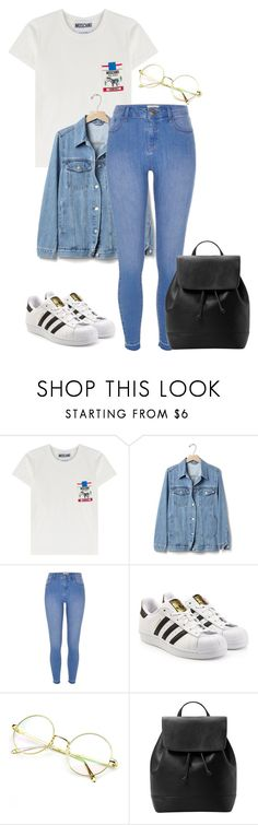 """""""day out"""" by joannachavez8 ❤ liked on Polyvore featuring Moschino, Gap, River Island, adidas Originals and MANGO"""
