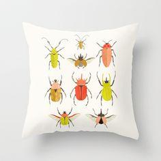 Beetle Identification Chart Throw Pillow