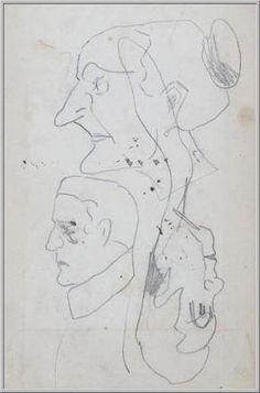 Mario Tozzi 1912: Profilo di Anziana e di Uomo. Disegno matita e inchiostro - cm.(11x17) - Collezione eredi Brunetti-Laderchi Bologna - Arc.414.
