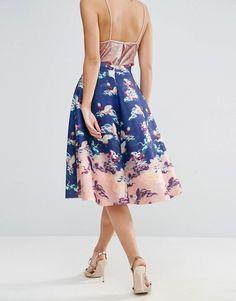 ASOS | ASOS Circle Prom Skirt in Bird Floral Print