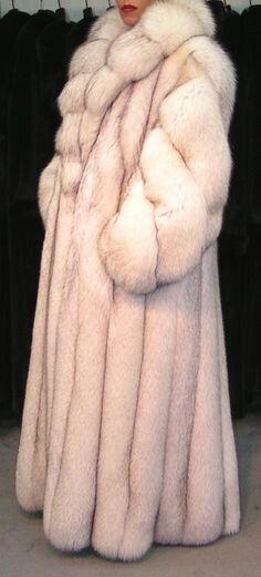 Polar white fox fur coat
