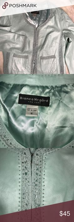 """Butter soft teal leather jacket Bianca Nygard Very soft leather. Crocheted trim. Two pockets. Excellent condition. From smoke free home. 22"""" armpit to armpit. 22.5"""" long.  24"""" sleeves Bianca Nygard Jackets & Coats"""