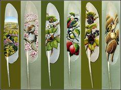 Ian Davie, painted feathers