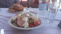 greek salad at near peramos restaurant near kavala, greece: http://www.europealacarte.co.uk/blog/2015/07/20/batis-meat-restaurant-at-new-perama-by-kavala-greece/