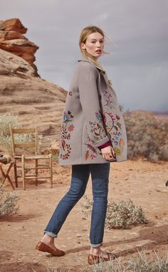 Deep Creek Coat - Harvest-hued flowers and vines meander over our embroidered, boiled merino wool coat.