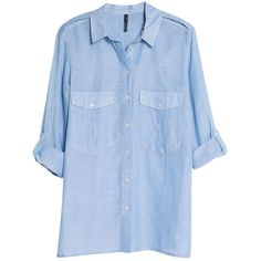 Mango Chest Pocket Shirt, Medium Blue (65 BRL) ❤ liked on Polyvore featuring tops, blouses, shirts, long sleeves, long sleeve cotton shirts, long sleeve collared shirts, cotton blouses, collar blouse and roll sleeve blouse