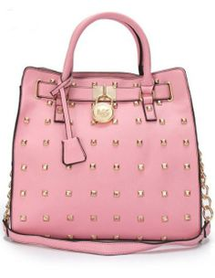 35002aa95a Michael Kors Large Hamilton Studded Tote Pink Michael Kors Collection