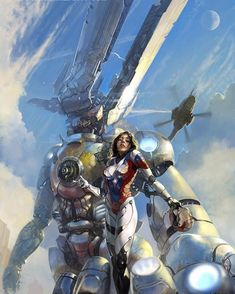 . _____ ・・・ By Viktor Adame _____ #Russia #scifi #fantasy #art #digitalart #devianart #digitalpainting #adventure #cyberpunk #cyber #наука #instadaily #inspiring #armor #knight #sky #warrior #earth #planet #gundam #mechas #anime #manga #girl #moon #animegirl #mangagirl #bluesky #helicopter