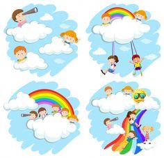Happy children playing in the rainbow illustration - Niños - - Happy Children's Day, Happy Kids, Drawing For Kids, Art For Kids, Blackboard Art, Watercolor Splatter, School Murals, Studio Cards, Kids Background