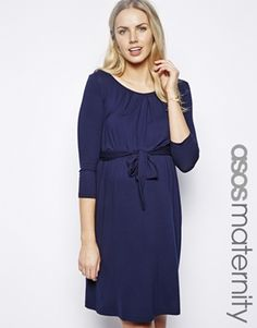 ASOS Maternity Exclusive Kate Dress With Belt And Scoop Neck With 3/4 Sleeve