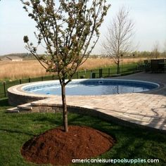 Above Ground Pool with stone patio surround