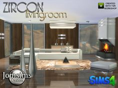 Zircon Modern Living Room by jomsims at TSR via Sims 4 Updates