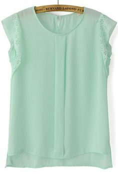 Green Hollow Short Sleeve Chiffon Blouse pictures
