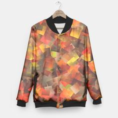 Autumn Colors Cut Paper Pattern Baseball Jacket, Live Heroes