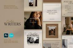 Writers Social Media Pack + Stories by September Social Media Template, Social Media Design, Email Newsletter Template, Instagram Feed, Instagram Story, Instagram Design, Instagram Posts, Book Cover Design Template, Design Templates