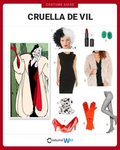 Dress Like Cruella De Vil The best costume guide for dressing like the extravagantly rich Cruella De Vil, the iconic villain from the Disney movie 101 Dalmatians. Cruella Deville Kostüm, Diy Cruella Deville Costume, Cruella Costume, Dalmatian Halloween, Dalmatian Costume, Disney Villain Costumes, Movie Character Costumes, Disney Costumes For Women, Halloween Costumes To Make