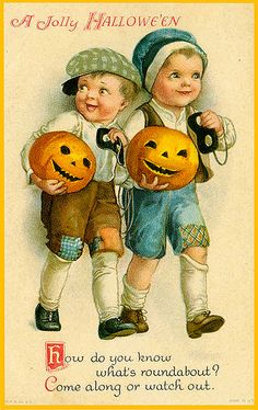 A jolly Halloween wish to one and all! #vintage #Halloween #card