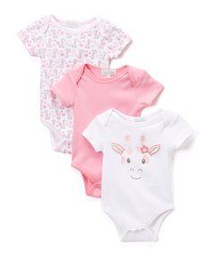 Look what I found on #zulily! Pink & White Giraffe Bodysuit Set - Infant #zulilyfinds