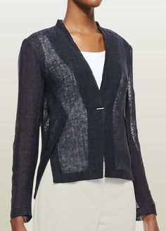 Elie Tahari linen navy jacket