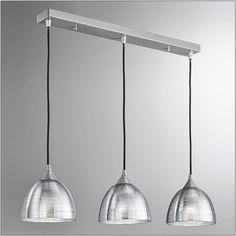 Franklite Vetross Silvered Glass Circular Triple Pendant meets contemporary with the Franklite Vetross range.Translucent silvered glasses with a circular textured effect on the outside, hung from braided black cord suspensions with satin 3 Light Pendant, Ceiling Pendant, Ceiling Lights, Lighting Bugs, Bar Lighting, Island Lighting, Glass Bar, Light In, Open Plan Kitchen