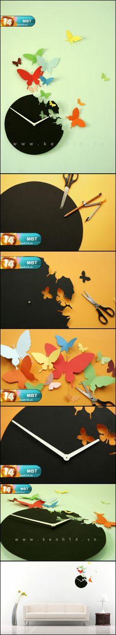 DIY Butterfly Wall Art Clock -