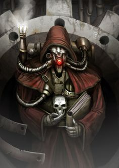 Seriously badass techpriest painting. Might steal some bits of this for my upcoming Mechanicus cosplay.