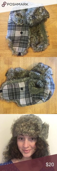 Russian Winter Hat Grey sparkly plaid winter hat Accessories Hats
