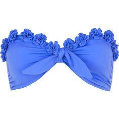 Blue flower bikini top