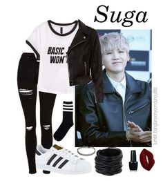 """meeting the parents - yoongi"" by bangtanoutfits ❤ liked on Polyvore featuring Topshop, H&M, New Look, adidas, Saachi, OPI, Lime Crime, kpop, bts and BangtanBoys"