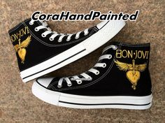 Mom, If you are going to get converse anyway...Bon Jovi Custom Converse Shoes Hand Painted by CoraHandPainted, $74.99